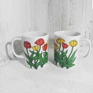 Vintage Tulip Coffee Mug Set of 2